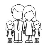Monochrome contour faceless with dad mom and two female daughters in formal clothes. Illustration Stock Image