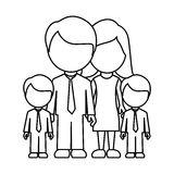 monochrome contour faceless with dad mom and two male sons in formal clothes Stock Photos