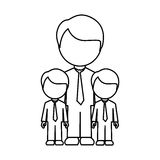 Monochrome contour with father and sons in suit and faceless Royalty Free Stock Photography