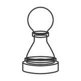 Monochrome contour of figure pawn of chess Royalty Free Stock Photos