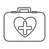 Monochrome contour with firts aid kit with symbol cross in heart Stock Photography
