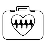 Monochrome contour with firts aid kit with symbol line of vital sign in heart. Vector illustration Stock Photo