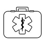 Monochrome contour with firts aid kit with symbol star of life. Vector illustration Stock Photography