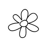 Monochrome contour with flower figure Stock Photos