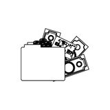 Monochrome contour of folder with money accounts Royalty Free Stock Photography