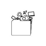 Monochrome contour of folder with personal files. Illustration Royalty Free Stock Photos