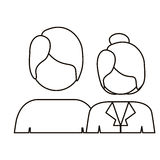 Monochrome contour with half body couple without face and both with short hair Royalty Free Stock Images