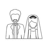 Monochrome contour half body with coupled married Royalty Free Stock Image