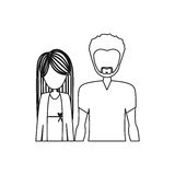 Monochrome contour half body with man with beard and woman with long hair Royalty Free Stock Photos