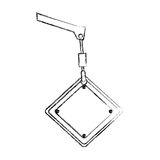 Monochrome contour hand drawing of crane hook holding a diamond traffic sign close up. Illustration Royalty Free Stock Photography
