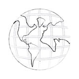 monochrome contour hand drawing of earth world map with continents Stock Image