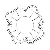 Monochrome contour hand drawing of flotation hoop icon with rope Stock Images