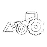 monochrome contour hand drawing of tractor loader building machine Stock Images