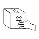 Monochrome contour with hand holding sealed packing box Royalty Free Stock Photography
