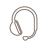 Monochrome contour headset with microphone handsfree Royalty Free Stock Photo