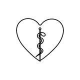 Monochrome contour with health symbol with serpent entwined inside of heart. Illustration Royalty Free Stock Image