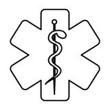 Monochrome contour with health symbol with star of life. Vector illustration Royalty Free Stock Images
