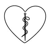 Monochrome contour of heart with health symbol with serpent entwined. Illustration Stock Images