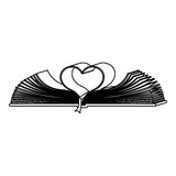 Monochrome contour with holy bible open with sheets in shape heart Royalty Free Stock Photo