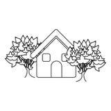 monochrome contour house with trees Stock Photo