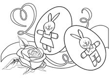 Monochrome contour illustration with rose and eggs Stock Photography