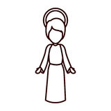 Monochrome contour with jesus boy with open hands Stock Photo