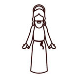 Monochrome contour with jesus with open hands Stock Photography