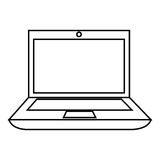 Monochrome contour with laptop computer Royalty Free Stock Photography
