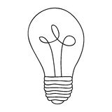 Monochrome contour of light bulb with filament in spiral Stock Image