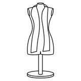 Monochrome contour manikin tailor shop design Stock Photography