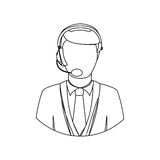 Monochrome contour with men operator with headphone. Illustration Royalty Free Stock Photo