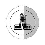 Monochrome contour with middle shadow sticker in circle of house with four floors Stock Photo