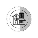 Monochrome contour with middle shadow sticker in circle of house with three floors Royalty Free Stock Images