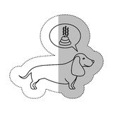 Monochrome contour middle shadow sticker with dachshund dog thinkin poop Stock Photography