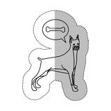 Monochrome contour middle shadow sticker with doberman pinscher dog thinkin bone. Vector illustration Royalty Free Stock Image