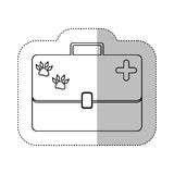 Monochrome contour with middle shadow sticker with vet first aid suitcase. Vector illustration Royalty Free Stock Photo