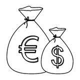 Monochrome contour with money bags with currency symbol dollar and euro Royalty Free Stock Photos