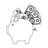 monochrome contour with moneybox in shape of pig Stock Photography