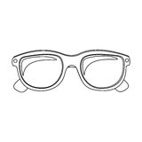 Monochrome contour with oval glasses lens Stock Photo