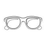 Monochrome contour with oval glasses lens. Illustration Stock Photo