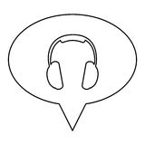 monochrome contour of oval speech with headset icon Royalty Free Stock Photo