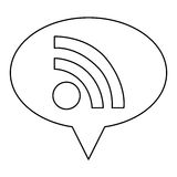 monochrome contour of oval speech with wifi icon Royalty Free Stock Images