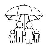 Monochrome contour of pictogram with umbrella protecting family group Stock Image