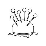 Monochrome contour pincushion with pins icon Royalty Free Stock Photo