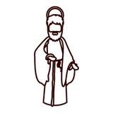 Monochrome contour of saint joseph with walking stick. Vector illustration Royalty Free Stock Photos