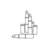monochrome contour with set lipstick Royalty Free Stock Image