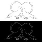 Monochrome contour silhouette of two doves Royalty Free Stock Photo