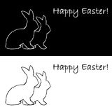 Monochrome contour silhouette of two Easter bunny  Royalty Free Stock Photography