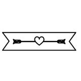 Monochrome contour with small heart crossed by arrow in ribbon. Illustration Stock Photo