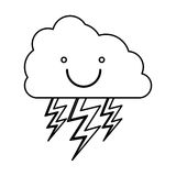 Monochrome contour with smiling cloud with lightnings Stock Photo